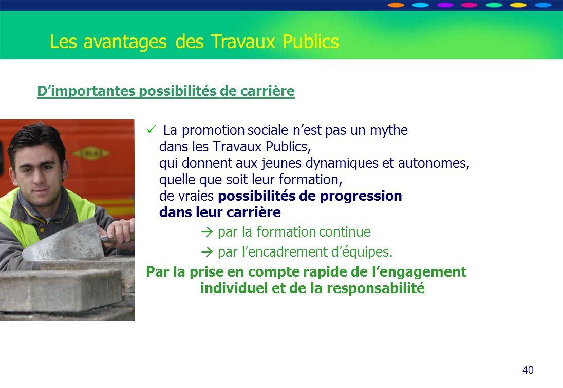 O PT IO 40 Les avantages des Travaux Publics Dimportantes possibilités de carrière La promotion sociale nest pas un mythe dans les Travaux Publics, qu