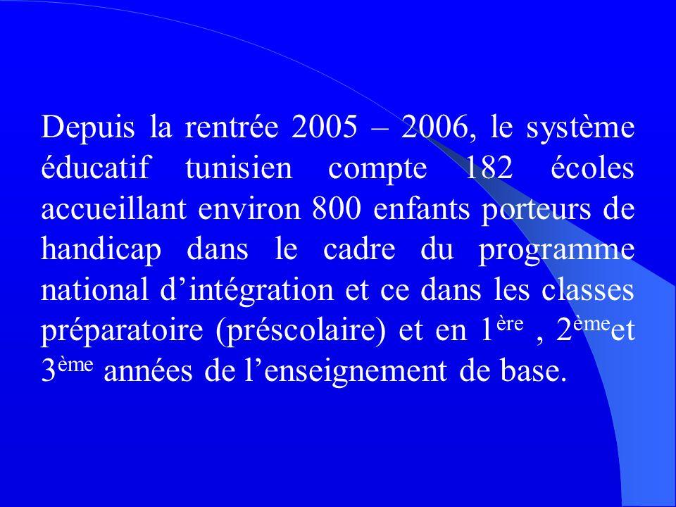 Depuis la rentrée 2005 – 2006, le système éducatif tunisien compte 182 écoles accueillant environ 800 enfants porteurs de handicap dans le cadre du programme national dintégration et ce dans les classes préparatoire (préscolaire) et en 1 ère, 2 ème et 3 ème années de lenseignement de base.
