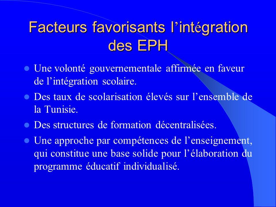 Facteurs favorisants l int é gration des EPH Une volonté gouvernementale affirmée en faveur de lintégration scolaire.