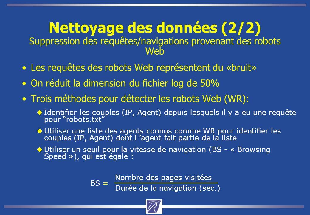 Nettoyage des données (2/2) Suppression des requêtes/navigations provenant des robots Web Les requêtes des robots Web représentent du «bruit» On réduit la dimension du fichier log de 50% Trois méthodes pour détecter les robots Web (WR): Identifier les couples (IP, Agent) depuis lesquels il y a eu une requête pour robots.txt Utiliser une liste des agents connus comme WR pour identifier les couples (IP, Agent) dont l agent fait partie de la liste Utiliser un seuil pour la vitesse de navigation (BS - « Browsing Speed »), qui est égale : BS = Durée de la navigation (sec.) Nombre des pages visitées