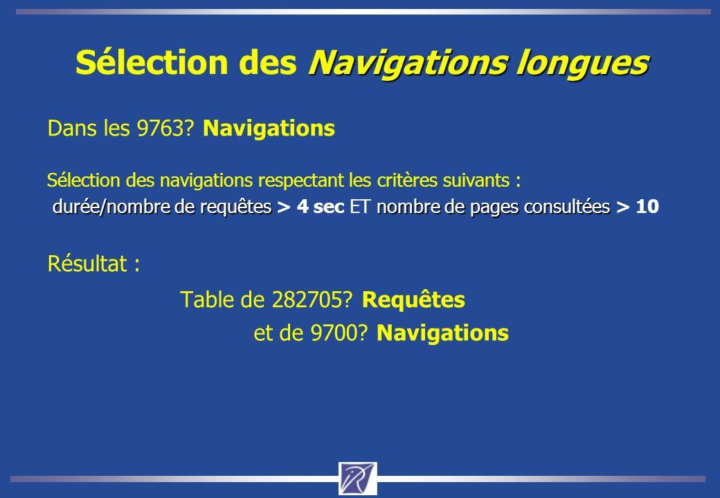Navigations longues Sélection des Navigations longues Dans les 9763.