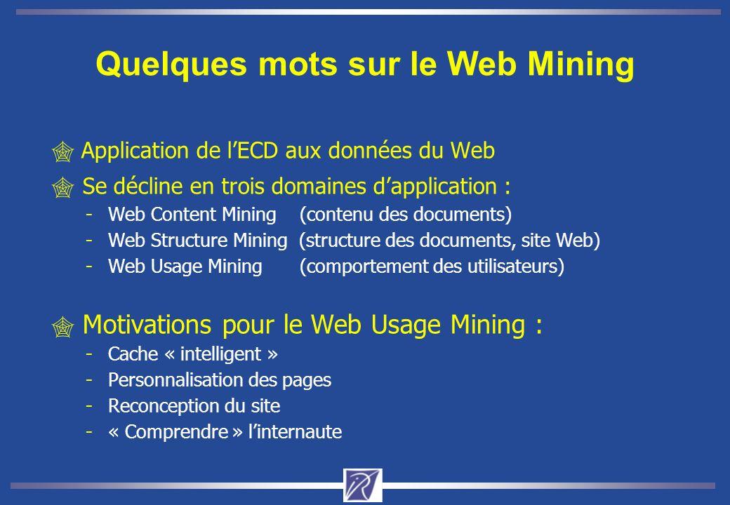 Application de lECD aux données du Web Se décline en trois domaines dapplication : - Web Content Mining (contenu des documents) - Web Structure Mining (structure des documents, site Web) - Web Usage Mining (comportement des utilisateurs) Motivations pour le Web Usage Mining : - Cache « intelligent » - Personnalisation des pages - Reconception du site - « Comprendre » linternaute Quelques mots sur le Web Mining