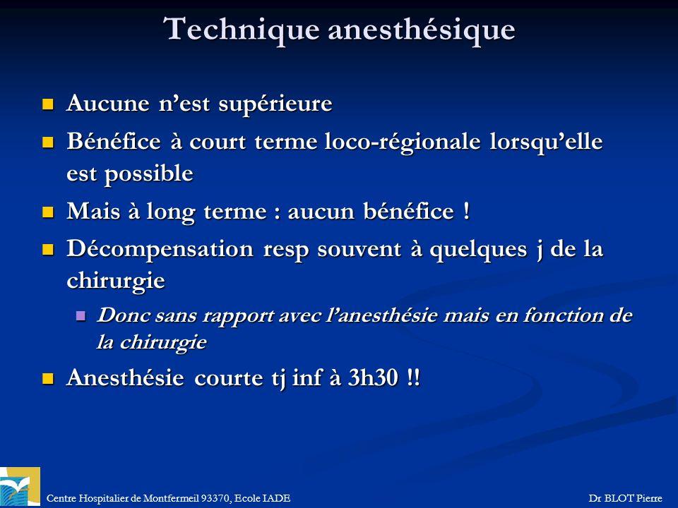 Centre Hospitalier de Montfermeil 93370, Ecole IADEDr BLOT Pierre Technique anesthésique Aucune nest supérieure Aucune nest supérieure Bénéfice à cour