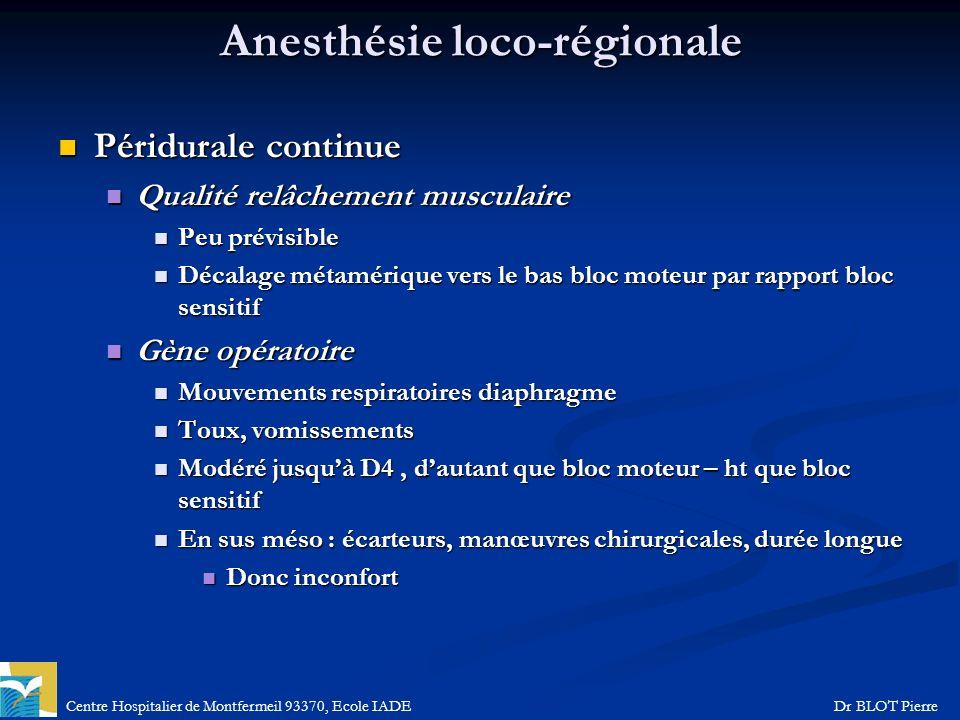 Centre Hospitalier de Montfermeil 93370, Ecole IADEDr BLOT Pierre Anesthésie loco-régionale Péridurale continue Péridurale continue Qualité relâchemen