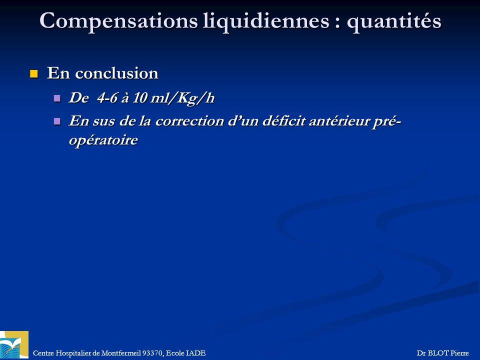 Centre Hospitalier de Montfermeil 93370, Ecole IADEDr BLOT Pierre Compensations liquidiennes : quantités En conclusion En conclusion De 4-6 à 10 ml/Kg
