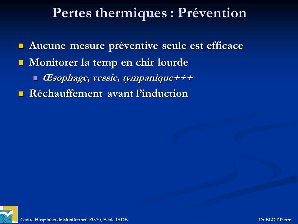 Centre Hospitalier de Montfermeil 93370, Ecole IADEDr BLOT Pierre Pertes thermiques : Prévention Aucune mesure préventive seule est efficace Aucune me