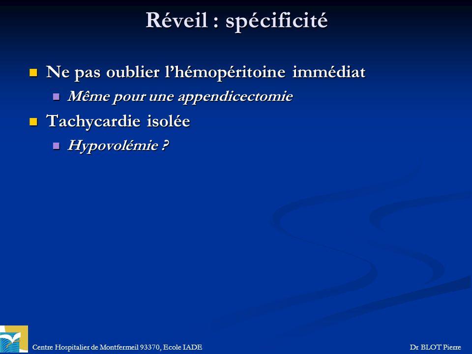 Centre Hospitalier de Montfermeil 93370, Ecole IADEDr BLOT Pierre Réveil : spécificité Ne pas oublier lhémopéritoine immédiat Ne pas oublier lhémopéri