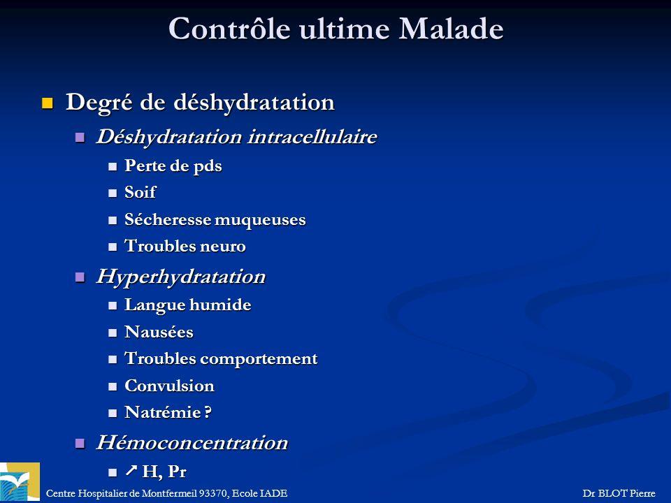 Centre Hospitalier de Montfermeil 93370, Ecole IADEDr BLOT Pierre Contrôle ultime Malade Degré de déshydratation Degré de déshydratation Déshydratatio