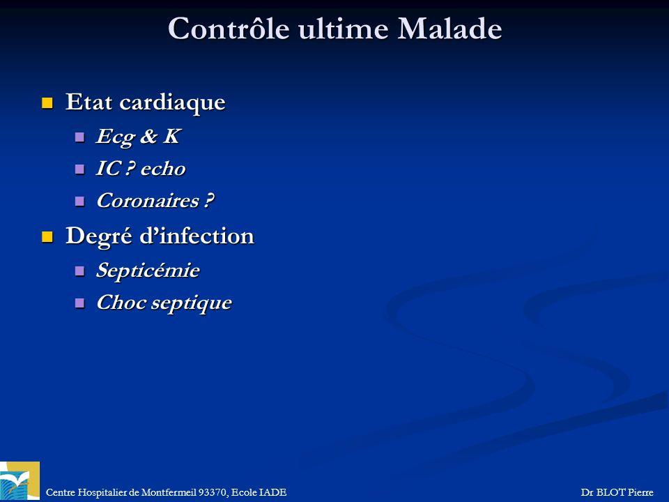 Centre Hospitalier de Montfermeil 93370, Ecole IADEDr BLOT Pierre Contrôle ultime Malade Etat cardiaque Etat cardiaque Ecg & K Ecg & K IC ? echo IC ?