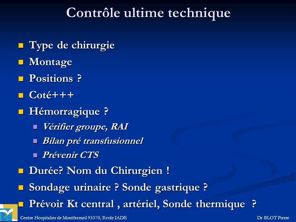 Centre Hospitalier de Montfermeil 93370, Ecole IADEDr BLOT Pierre Contrôle ultime technique Type de chirurgie Type de chirurgie Montage Montage Positi