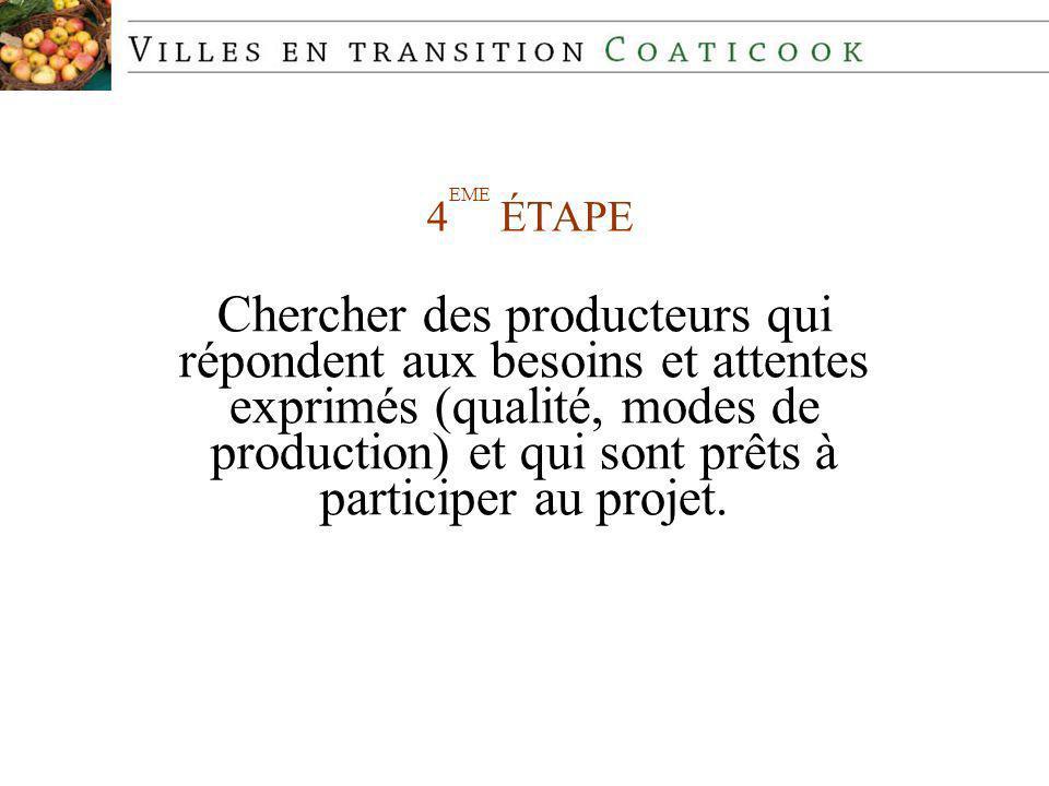 4 EME ÉTAPE Chercher des producteurs qui répondent aux besoins et attentes exprimés (qualité, modes de production) et qui sont prêts à participer au projet.