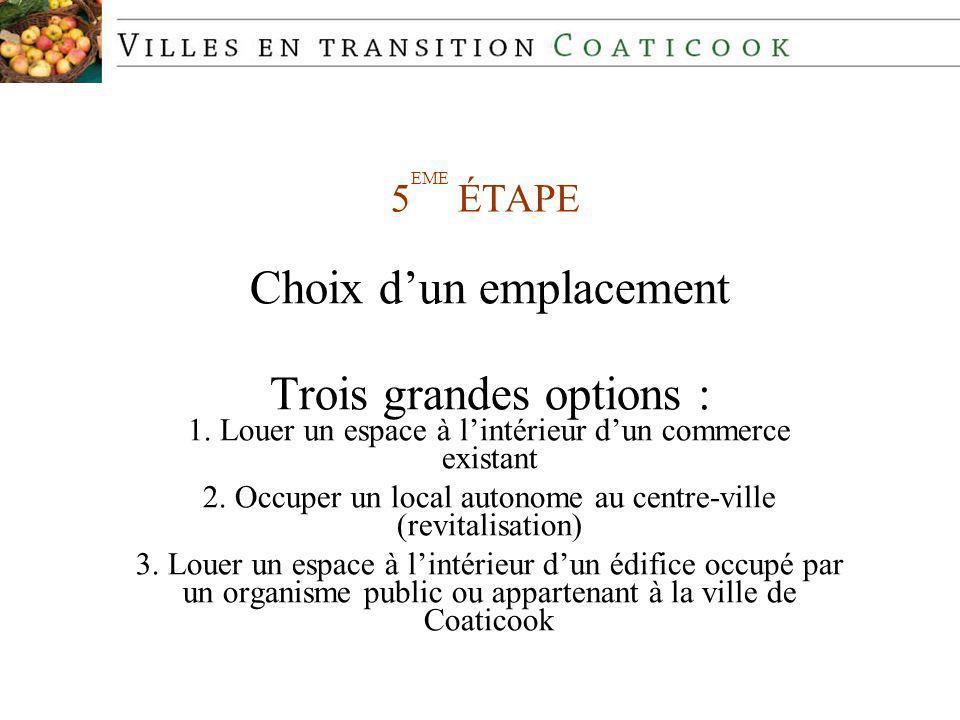 5 EME ÉTAPE Choix dun emplacement Trois grandes options : 1.