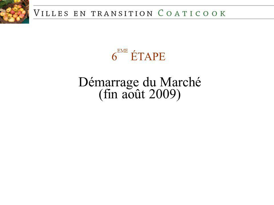 6 EME ÉTAPE Démarrage du Marché (fin août 2009)