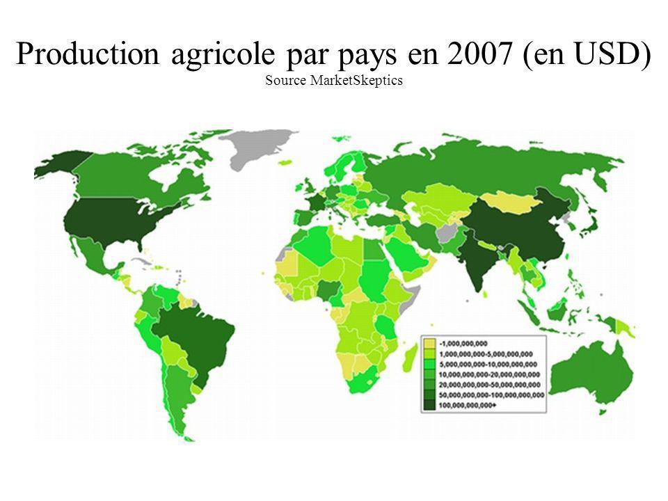 Production agricole par pays en 2007 (en USD) Source MarketSkeptics Sécheresse Sécheresse grave Sécheresse historique