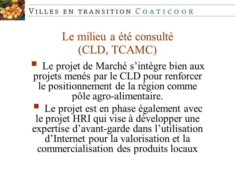 Le milieu a été consulté (CLD, TCAMC) Le projet de Marché sintègre bien aux projets menés par le CLD pour renforcer le positionnement de la région comme pôle agro-alimentaire.