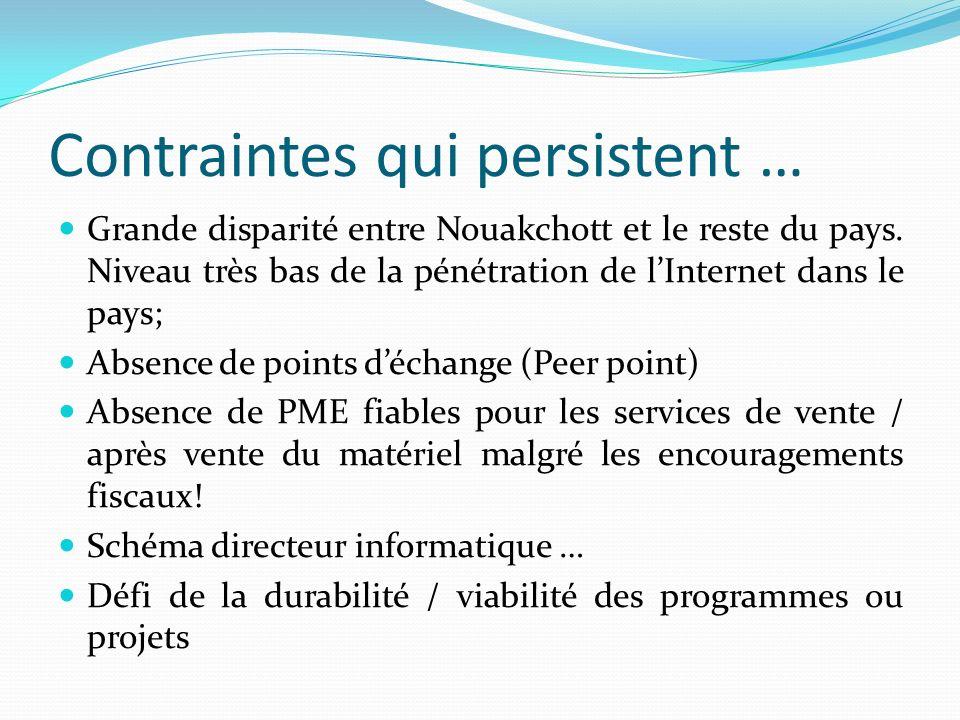 Contraintes qui persistent … Grande disparité entre Nouakchott et le reste du pays. Niveau très bas de la pénétration de lInternet dans le pays; Absen