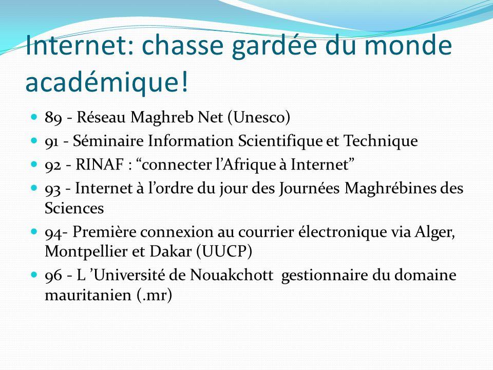 Internet: chasse gardée du monde académique! 89 - Réseau Maghreb Net (Unesco) 91 - Séminaire Information Scientifique et Technique 92 - RINAF : connec