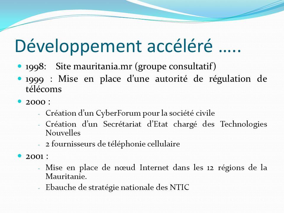 Développement accéléré ….. 1998: Site mauritania.mr (groupe consultatif) 1999 : Mise en place dune autorité de régulation de télécoms 2000 : - Créatio