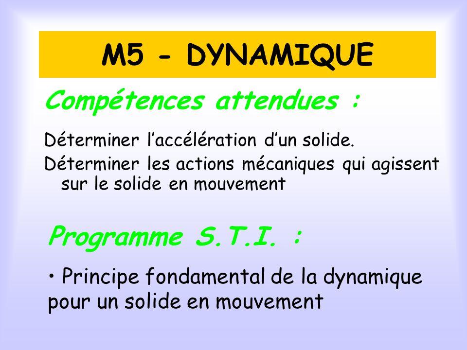 M5 - DYNAMIQUE Compétences attendues : Programme S.T.I.