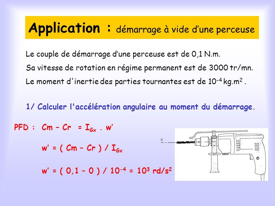 Application : démarrage à vide dune perceuse 1/ Calculer l accélération angulaire au moment du démarrage.