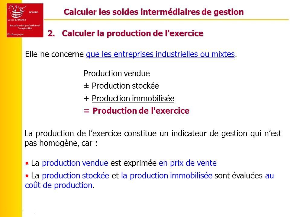 Calculer les soldes intermédiaires de gestion 2.Calculer la production de l exercice Elle ne concerne que les entreprises industrielles ou mixtes.