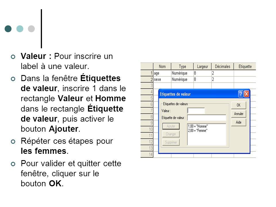 Valeur : Pour inscrire un label à une valeur. Dans la fenêtre Étiquettes de valeur, inscrire 1 dans le rectangle Valeur et Homme dans le rectangle Éti