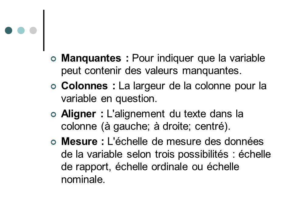 Manquantes : Pour indiquer que la variable peut contenir des valeurs manquantes. Colonnes : La largeur de la colonne pour la variable en question. Ali