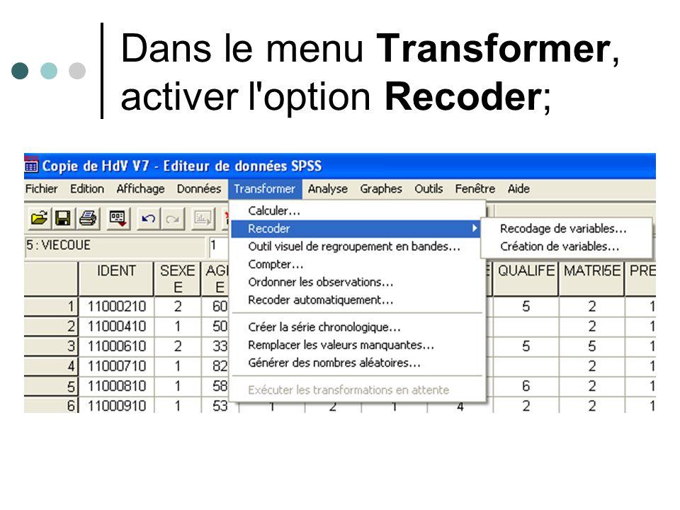 Dans le menu Transformer, activer l'option Recoder;