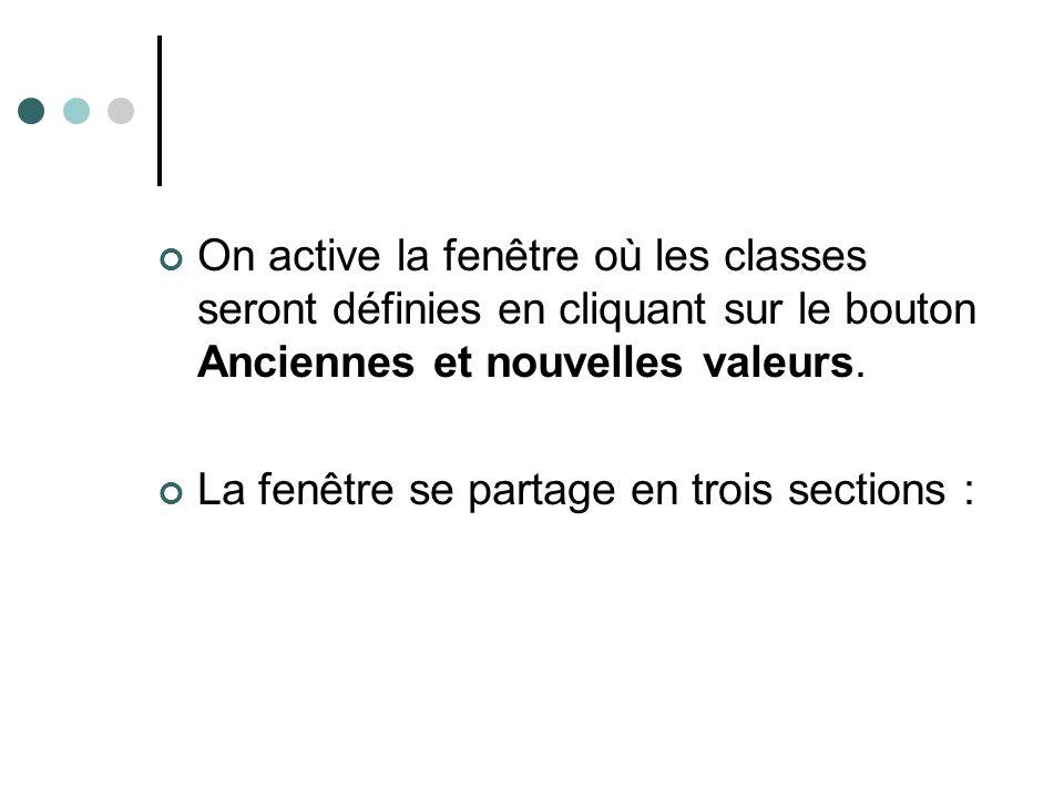 On active la fenêtre où les classes seront définies en cliquant sur le bouton Anciennes et nouvelles valeurs. La fenêtre se partage en trois sections