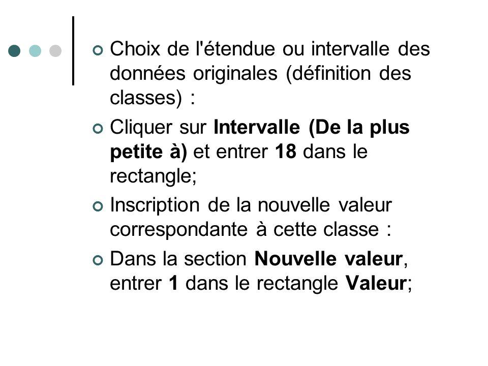 Choix de l'étendue ou intervalle des données originales (définition des classes) : Cliquer sur Intervalle (De la plus petite à) et entrer 18 dans le r