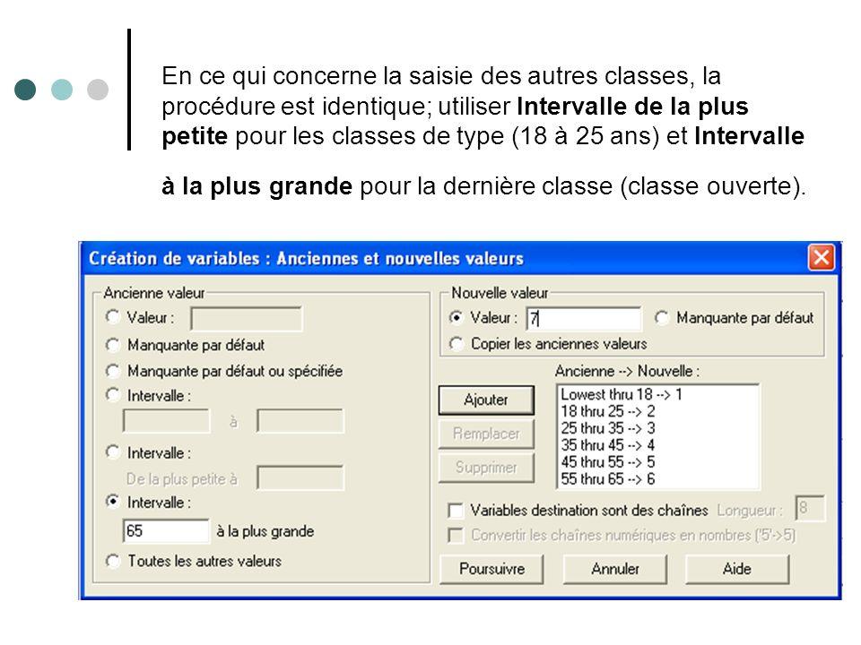 En ce qui concerne la saisie des autres classes, la procédure est identique; utiliser Intervalle de la plus petite pour les classes de type (18 à 25 a