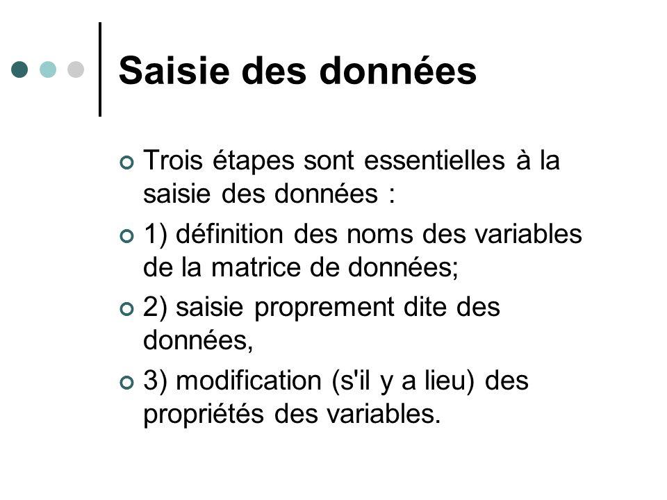 Saisie des données Trois étapes sont essentielles à la saisie des données : 1) définition des noms des variables de la matrice de données; 2) saisie p