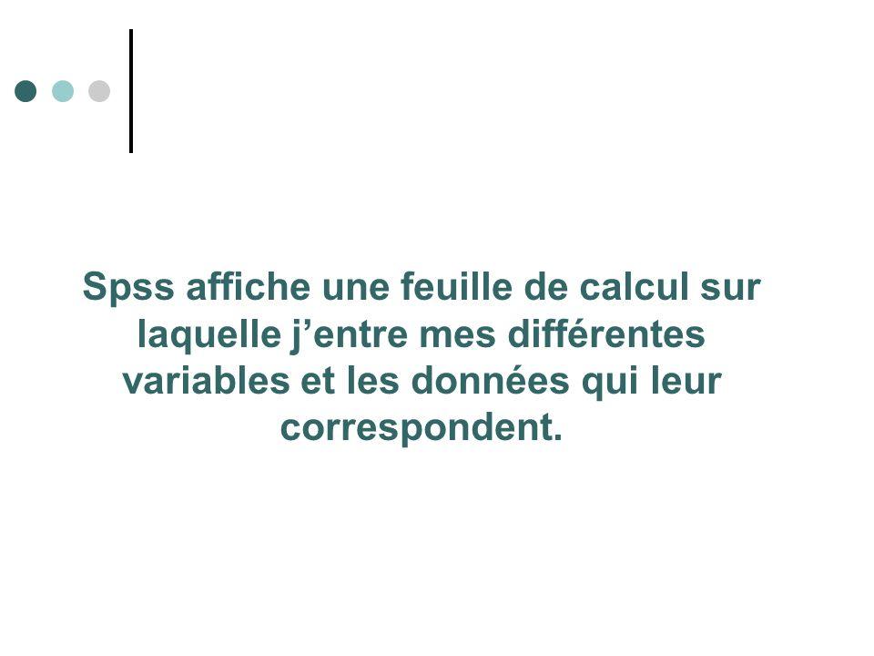 Définition d une variable et de ses propriétés Sous la colonne intitulée Nom, on indique le nom de la variable, c est-à-dire un symbole représentatif (maximum de 8 caractères non accentués).
