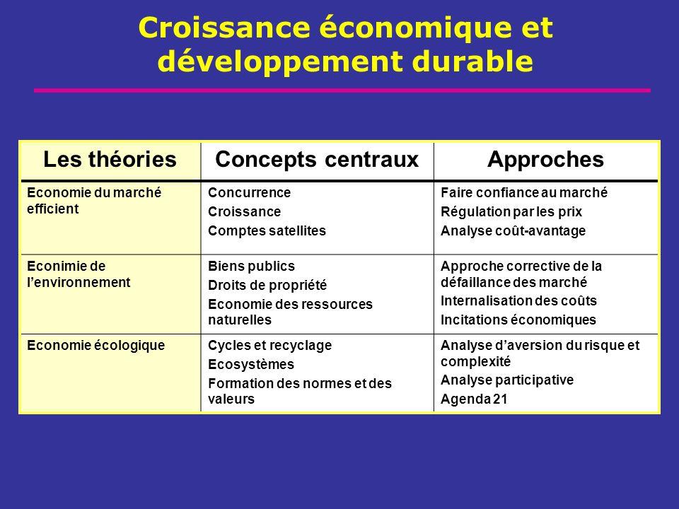Croissance économique et développement durable Les théoriesConcepts centrauxApproches Economie du marché efficient Concurrence Croissance Comptes sate