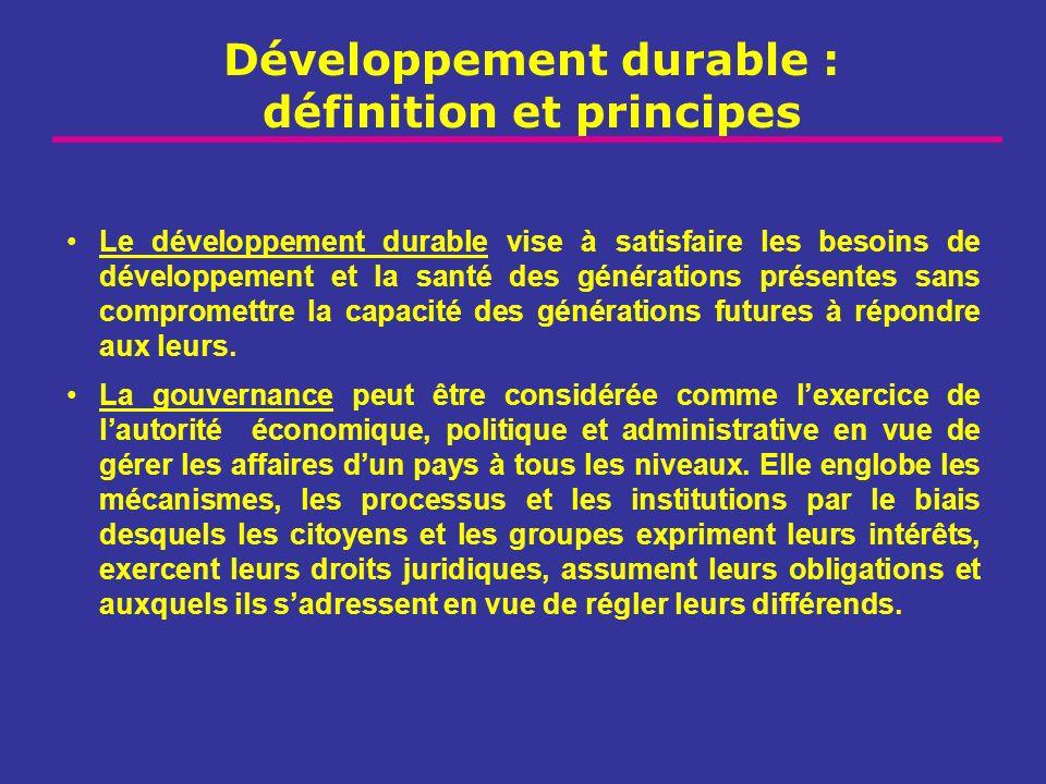 Développement durable : définition et principes Le développement durable vise à satisfaire les besoins de développement et la santé des générations pr