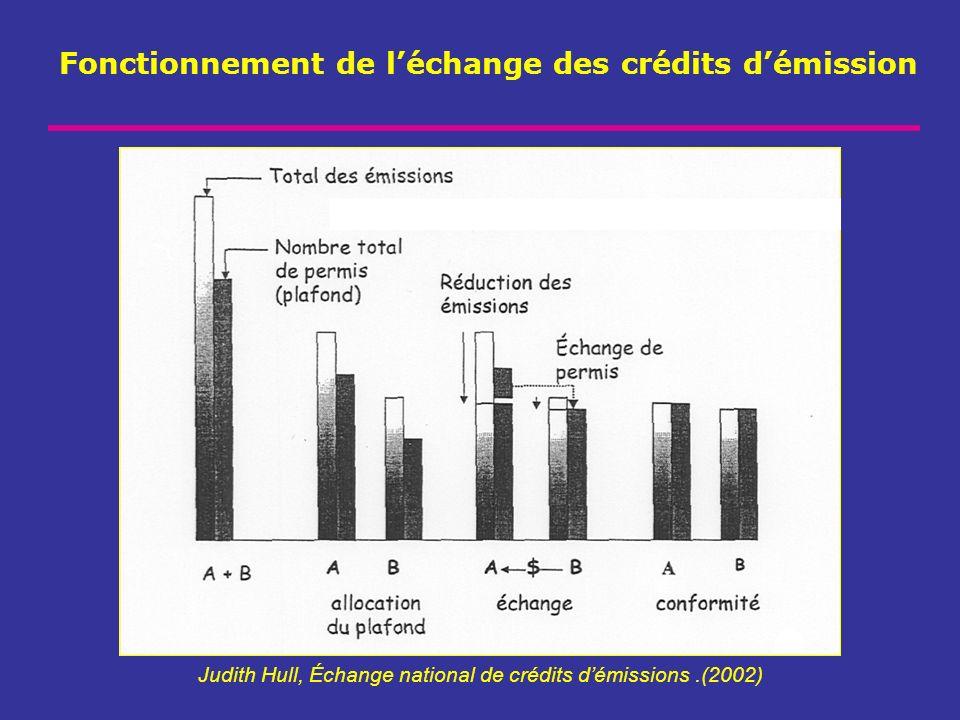 Fonctionnement de léchange des crédits démission Judith Hull, Échange national de crédits démissions.(2002)