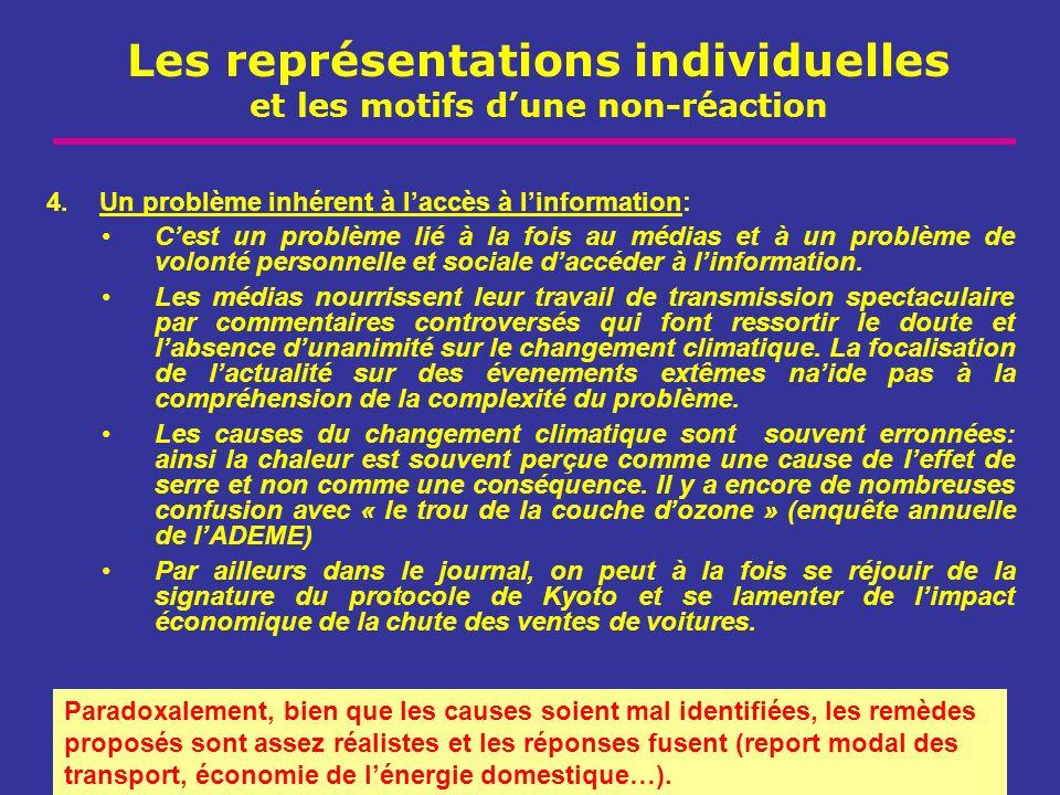 Les représentations individuelles et les motifs dune non-réaction 4.Un problème inhérent à laccès à linformation: Cest un problème lié à la fois au mé