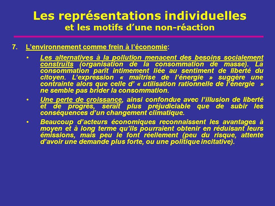 Les représentations individuelles et les motifs dune non-réaction 7.Lenvironnement comme frein à léconomie: Les alternatives à la pollution menacent d