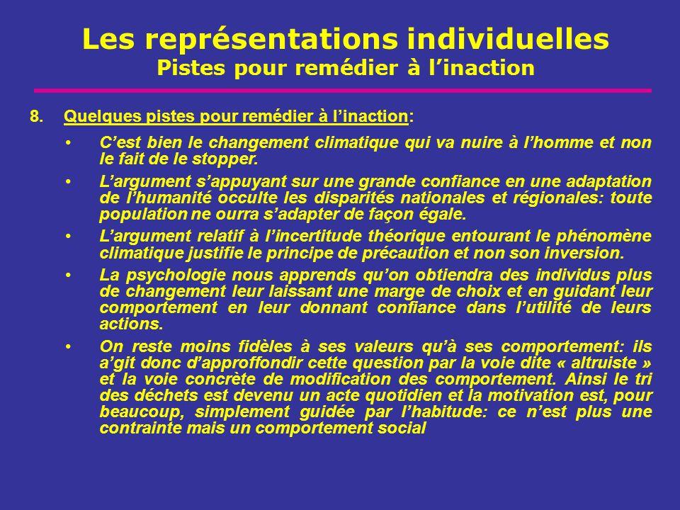 Les représentations individuelles Pistes pour remédier à linaction 8.Quelques pistes pour remédier à linaction: Cest bien le changement climatique qui