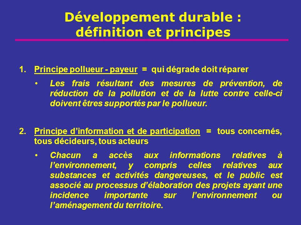 Développement durable : définition et principes 1.Principe pollueur - payeur = qui dégrade doit réparer Les frais résultant des mesures de prévention,