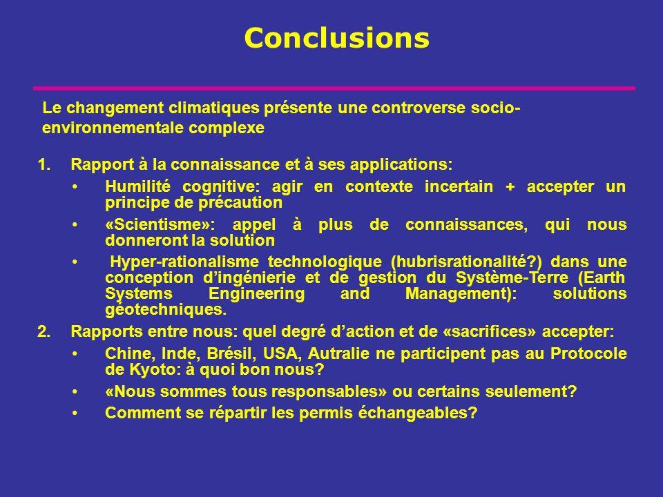 Conclusions 1.Rapport à la connaissance et à ses applications: Humilité cognitive: agir en contexte incertain + accepter un principe de précaution «Sc