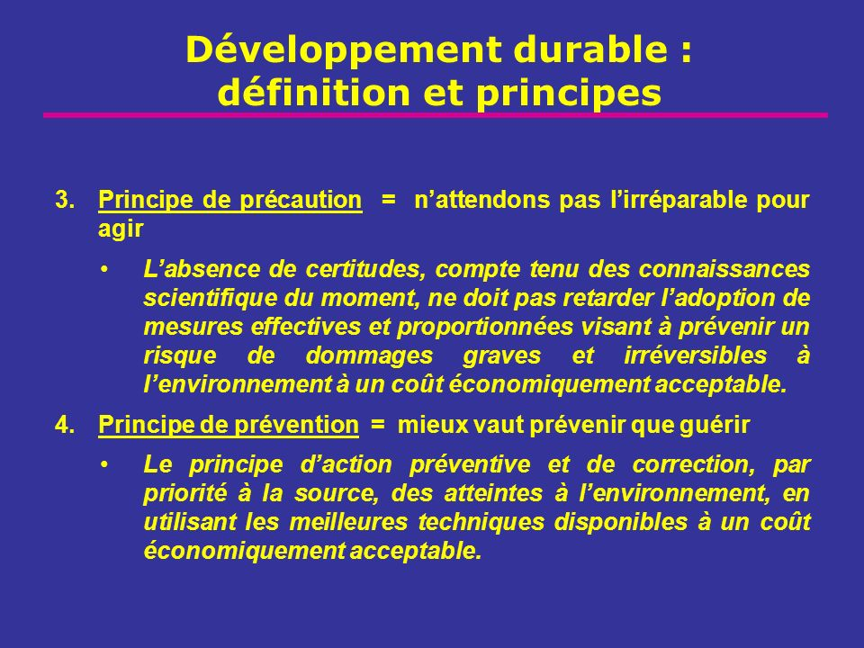 Développement durable : définition et principes 3.Principe de précaution = nattendons pas lirréparable pour agir Labsence de certitudes, compte tenu d