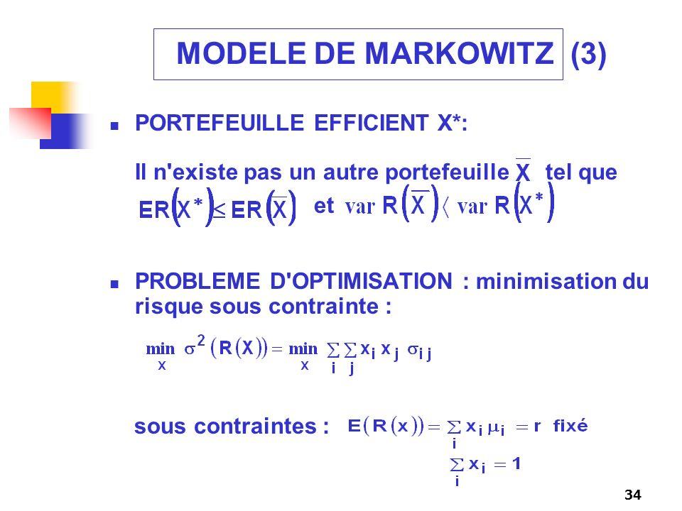 34 MODELE DE MARKOWITZ (3) PORTEFEUILLE EFFICIENT X*: Il n'existe pas un autre portefeuille tel que PROBLEME D'OPTIMISATION : minimisation du risque s