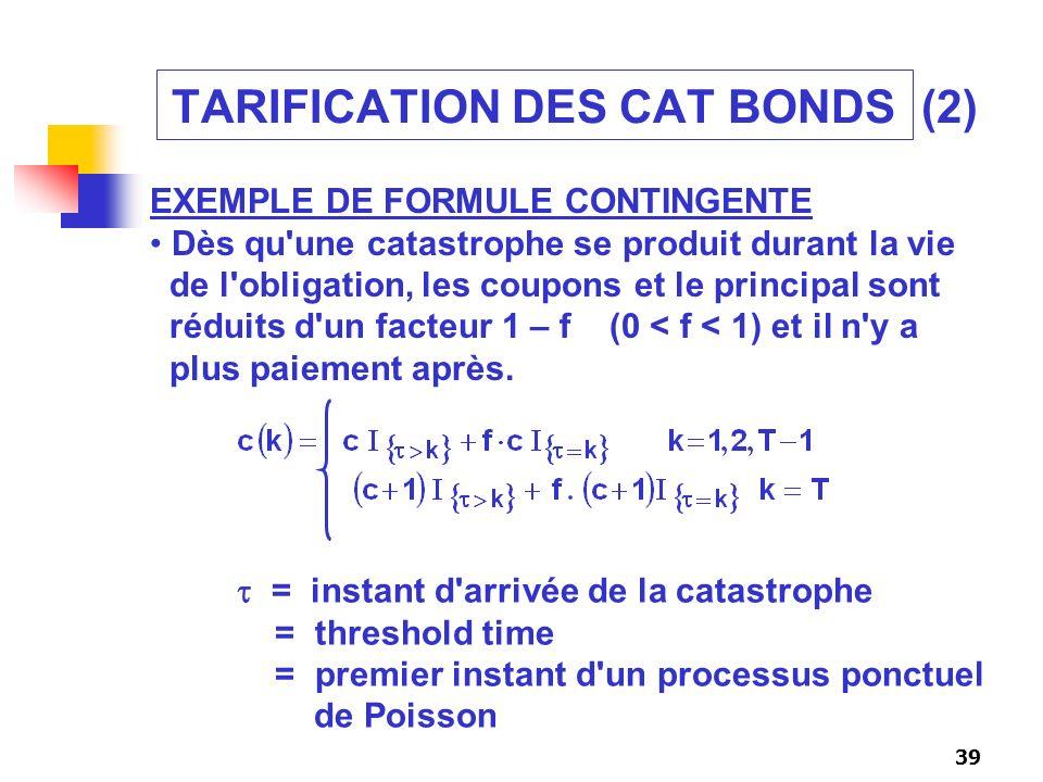 39 TARIFICATION DES CAT BONDS (2) EXEMPLE DE FORMULE CONTINGENTE Dès qu'une catastrophe se produit durant la vie de l'obligation, les coupons et le pr