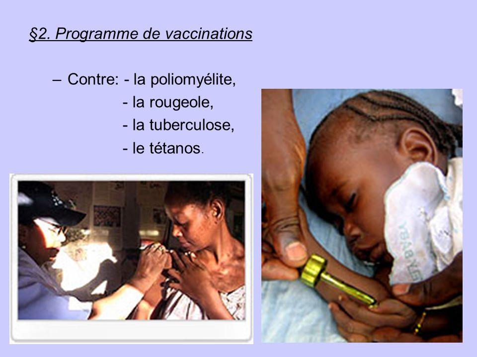 §2. Programme de vaccinations –Contre: - la poliomyélite, - la rougeole, - la tuberculose, - le tétanos.