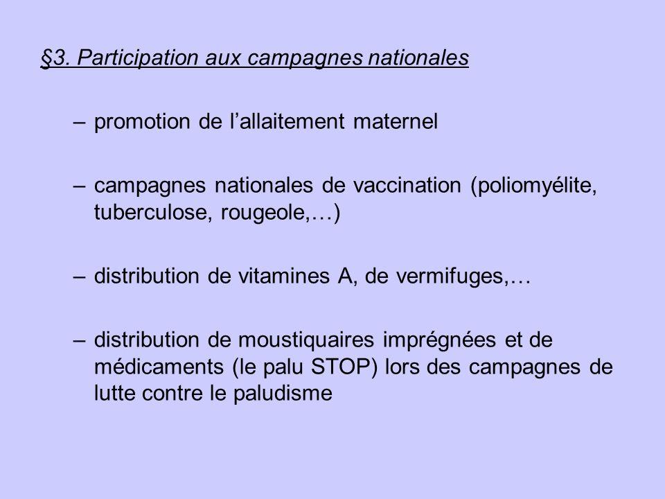 §3. Participation aux campagnes nationales –promotion de lallaitement maternel –campagnes nationales de vaccination (poliomyélite, tuberculose, rougeo