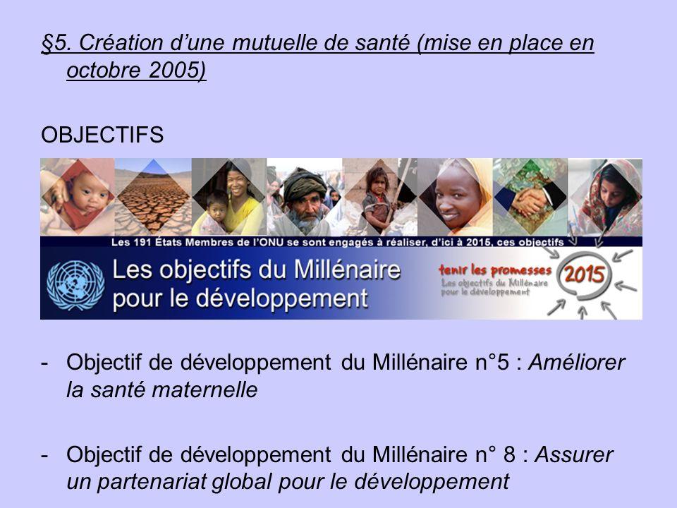 §5. Création dune mutuelle de santé (mise en place en octobre 2005) OBJECTIFS -Objectif de développement du Millénaire n°5 : Améliorer la santé matern