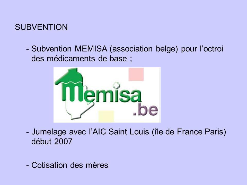 SUBVENTION - Subvention MEMISA (association belge) pour loctroi des médicaments de base ; - Jumelage avec lAIC Saint Louis (île de France Paris) début 2007 - Cotisation des mères