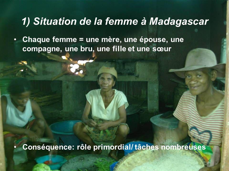 1) Situation de la femme à Madagascar Chaque femme = une mère, une épouse, une compagne, une bru, une fille et une sœur Conséquence: rôle primordial/ tâches nombreuses
