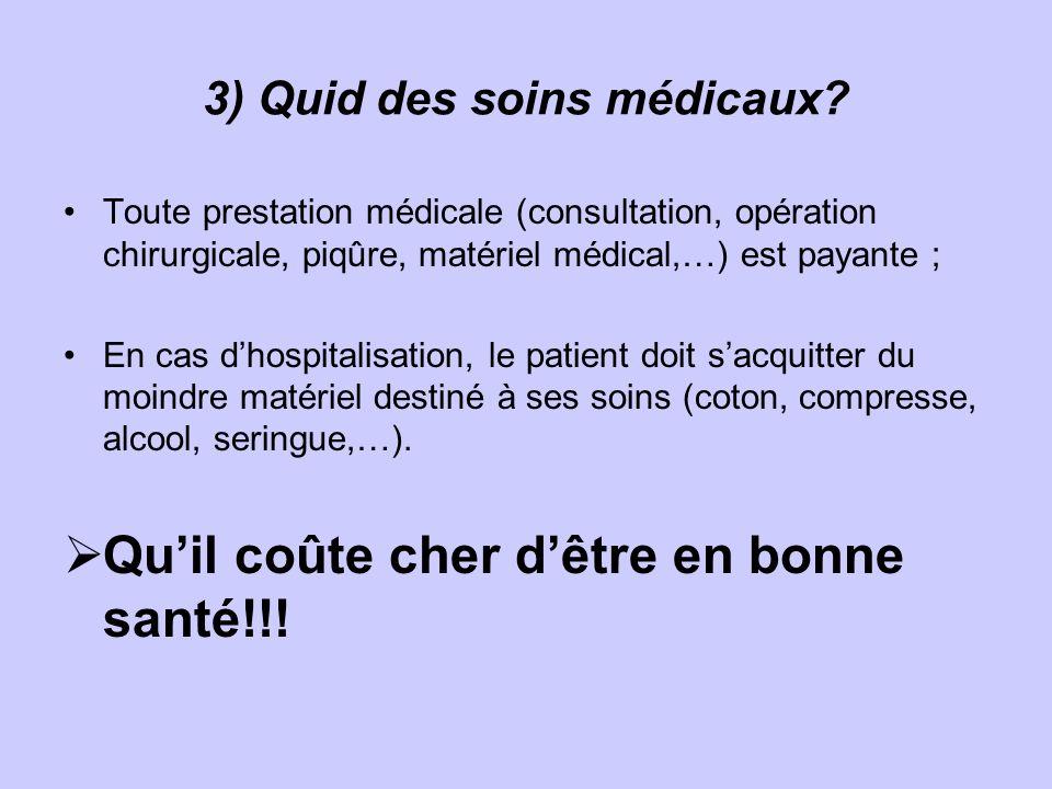 3) Quid des soins médicaux.